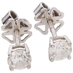 1.58 Carat Brilliant Cut Diamond 18 Karat White Gold Stud Earrings