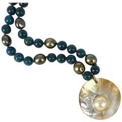 Apatite Pearl Mabe Pearl Silver Pendant Necklace