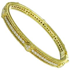 Judith Ripka Romance Diamond Yellow Gold Hearts Bangle Bracelet