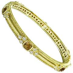 Judith Ripka Romance Quartz Diamond Yellow Gold Bangle Bracelet