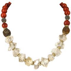 Herkimer Quartz Coral Agate Silver Necklace