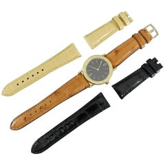 Bvlgari Yellow Gold Watch with Three Sets of Exotic Bands Black Wristwatch