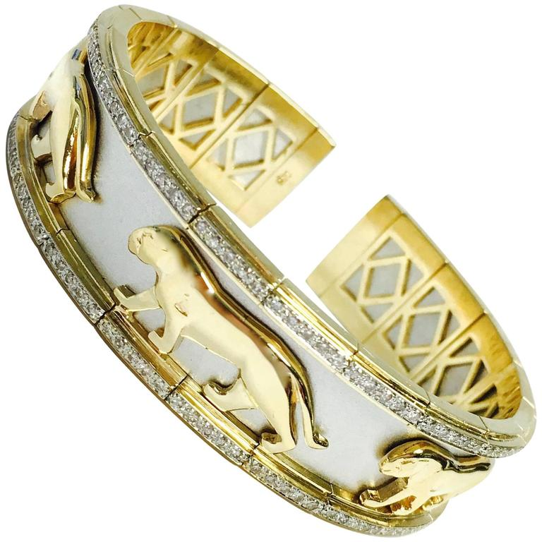 Two Tone Diamond white and yellow gold Panther Flexible Cuff