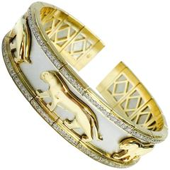 Two-Tone Diamond white and yellow gold Panther Flexible Cuff Bangle Bracelet