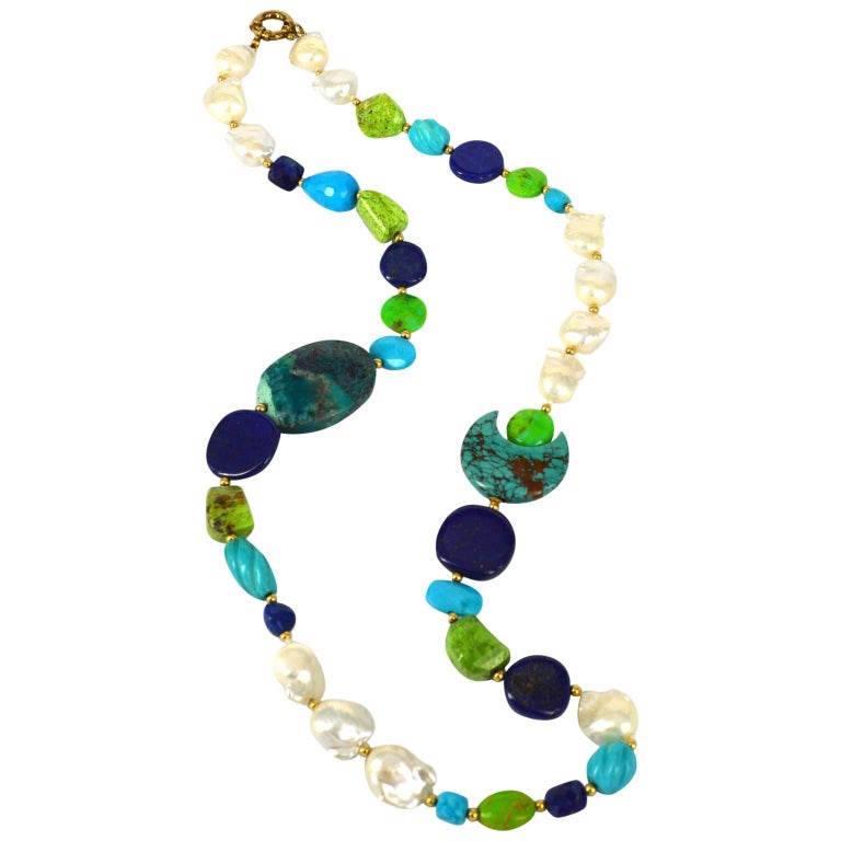 Vibrant Lapis Lazuli Turquoise Pearl Chrysocolla Gold Necklace