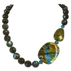Blue Labradorite London Blue Topaz Silver Necklace