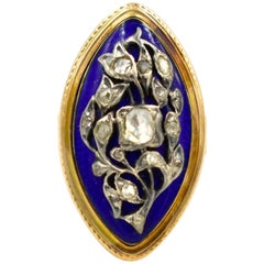 Antique Marquise Shaped Gold, Enamel and Diamond Ring