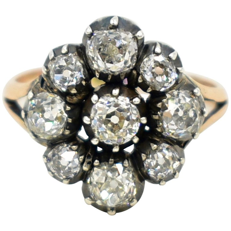 Antique Diamond Cluster Ring For Sale at 1stdibs