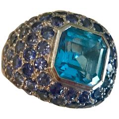 Blue Topaz Blue Sapphire white gold Ring