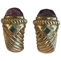 Amethyst Emerald Yellow Gold Earrings