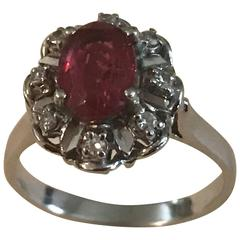 Pink Tourmaline Diamond white gold Ring