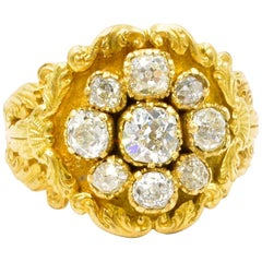 Antique Diamond and Gold Cluster Ring