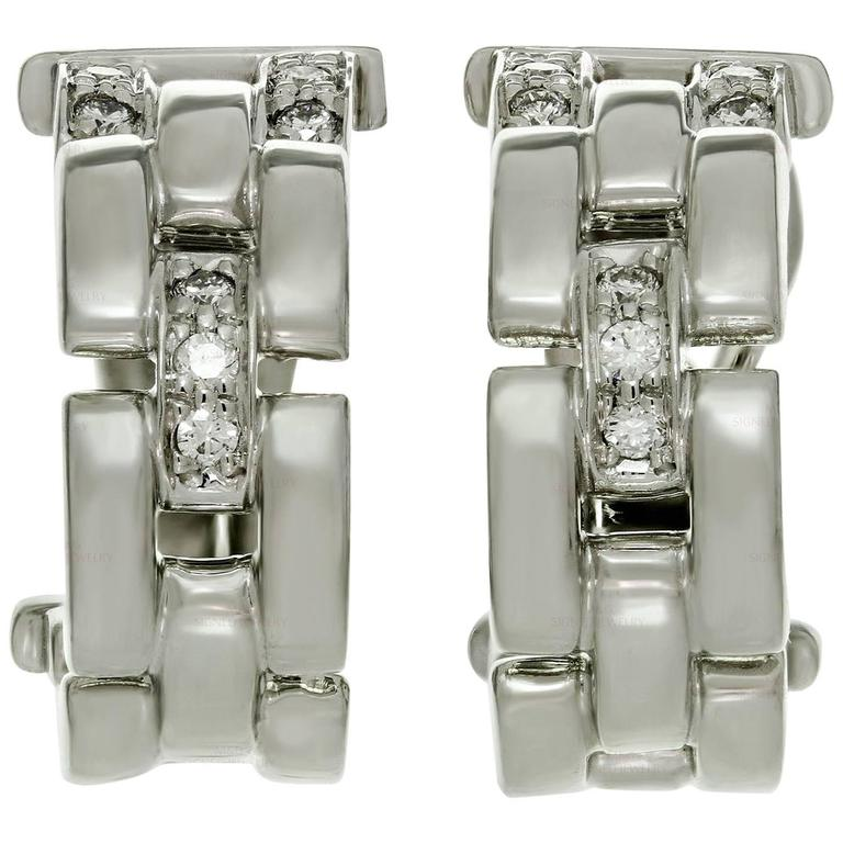 Cartier Maillon Panthere Diamond White Gold Earrings