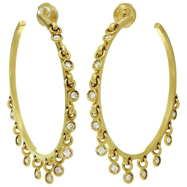 Dior Diamond Yellow Gold Dangle Hoop Earrings For