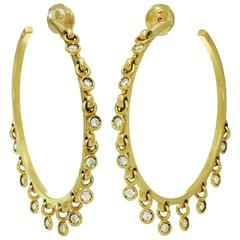 Christian Dior Diamond Yellow Gold Dangle Hoop Earrings