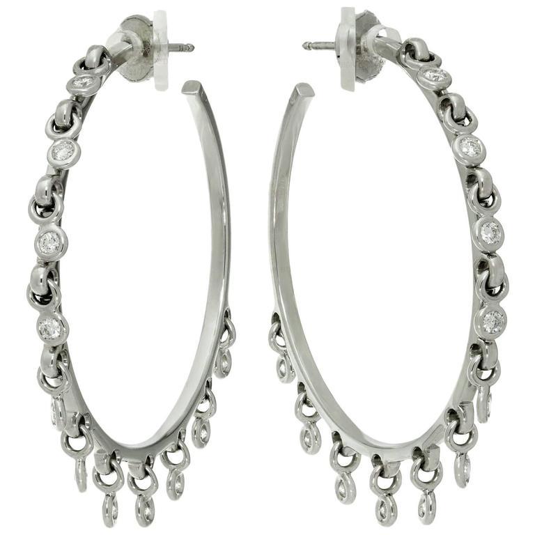Dior Diamond White Gold Dangle Hoop Earrings For