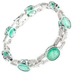 24.87 Carat Emerald and Diamond Bracelet Platinum
