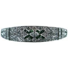 Tsavorite 4.55 Carat White Diamond White Gold Bracelet