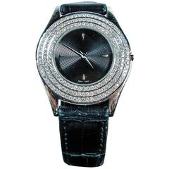 Mauboussin Ladies Gold Pave Diamond Accent Black Exotic Alligator Wristwatch