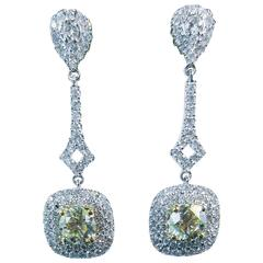Stunning Yellow Cuts Diamond Pave White Gold Drop Earrings