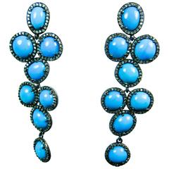 Turquoise and Silver Earrings with Pave Accents