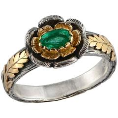 Emma Chapman Emerald Yellow Gold Silver Ring