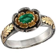 Buttercup Emerald 18 Karat Gold & Silver Ring