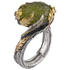 Emma Chapman Peridot Diamond Blue Sapphire Yellow Gold Silver Ring