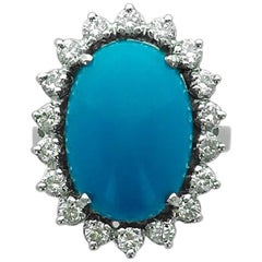 Turquoise Diamond White Gold Ring