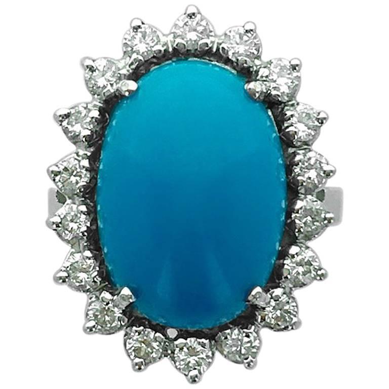 Turquoise Diamond White Gold Ring