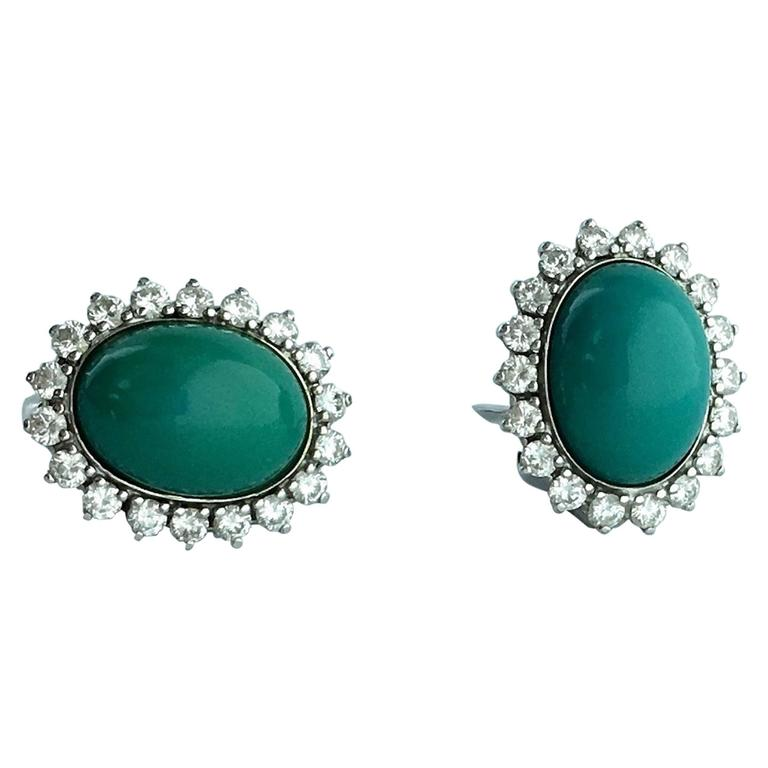 Turquoise Diamond White Gold Earrings