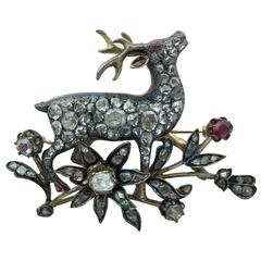 Rose-Cut Diamond Ruby Silver Gold Deer and Flower Brooch