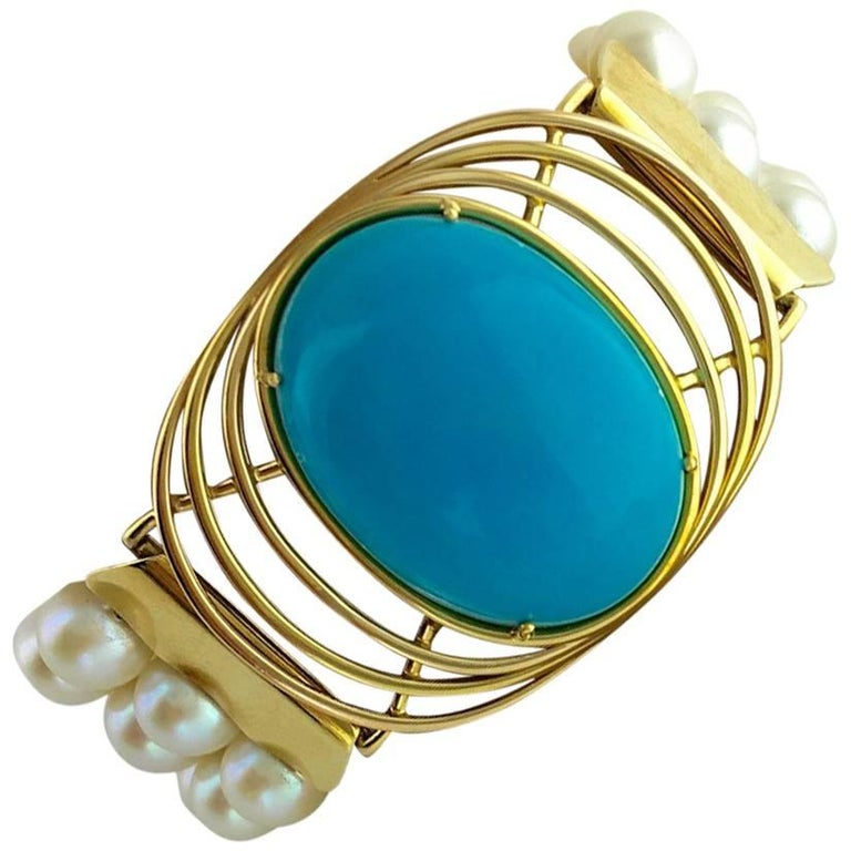 Oversized Turquoise Yellow Gold Pearl Bracelet For Sale