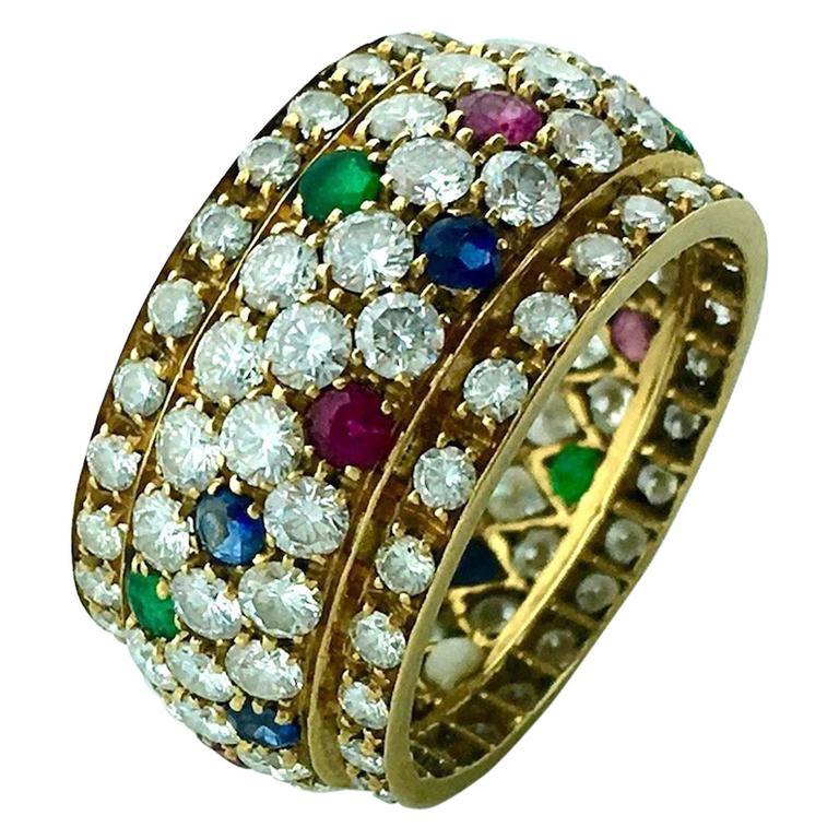 Emerald Sapphire Ruby Diamond Gold Ring