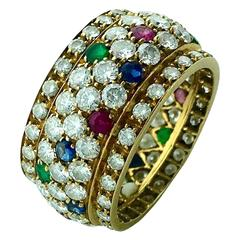 Emerald Sapphire Ruby Diamond Gold Ring