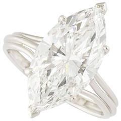 4.29 Carat GIA Certified Marquise Diamond White Gold Ring
