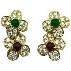 Van Cleef & Arpels Emerald Ruby Diamond Gold Earrings