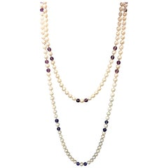 Cultured Pearl and Amethyst Beads Sautoir Necklace