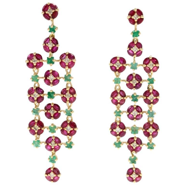 Ruby Emerald Diamond yellow gold Chandelier Earrings 1