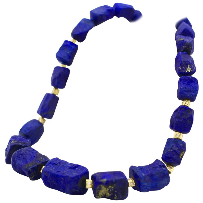 Hammered Lapis Lazuli Necklace and 18kt Gold Beads & Clasp