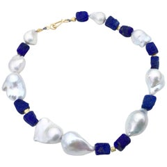Hand-Hammered Lapis Lazuli with Baroque Pearls and 18 Karat Gold Beads