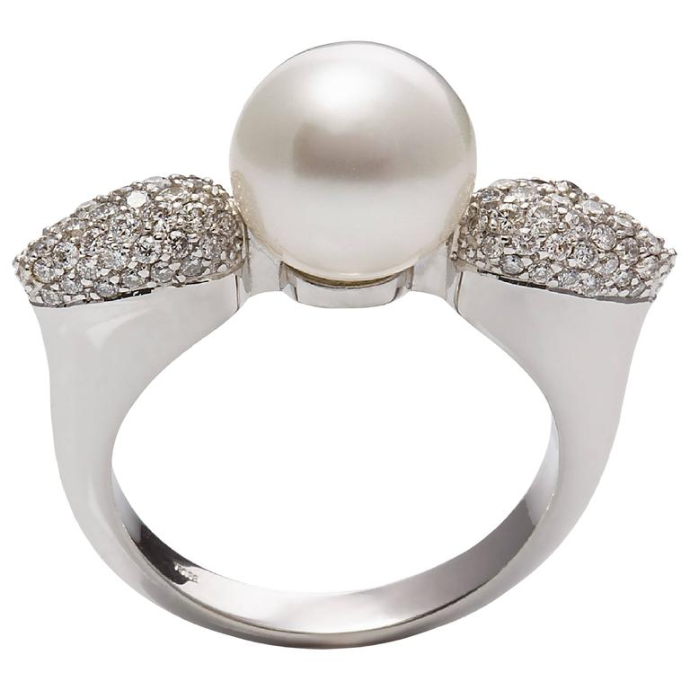 0.60 Carat Diamonds South Sea Round White Pearl Cocktail Ring