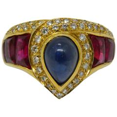 1980s Original Natural Cabochon Sapphire  Ruby White Diamond Gold Cocktail Ring