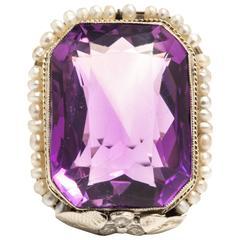 Art Deco Amethyst Pearl White Gold Filigree Ring