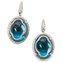 White Gold Earrings with Topaz and White Diamonds by Opera, Italian Attitude