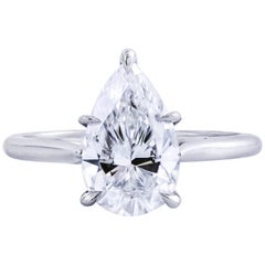 GIA Certified 2.13 Carat Pear Shape Diamond Solitaire Engagement Ring