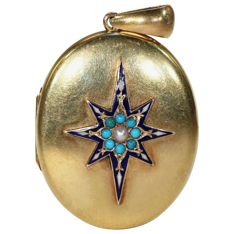Victorian Enamel Pearl Turquoise Gold Locket 1