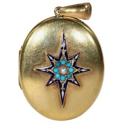 Victorian Enamel Pearl Turquoise Gold Locket