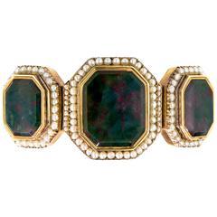 Victorian Bloodstone Seed Pearl Yellow Gold Flexible Bracelet