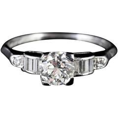 Antique Diamond Solitaire Platinum 1 Carat of Diamond Engagement Ring